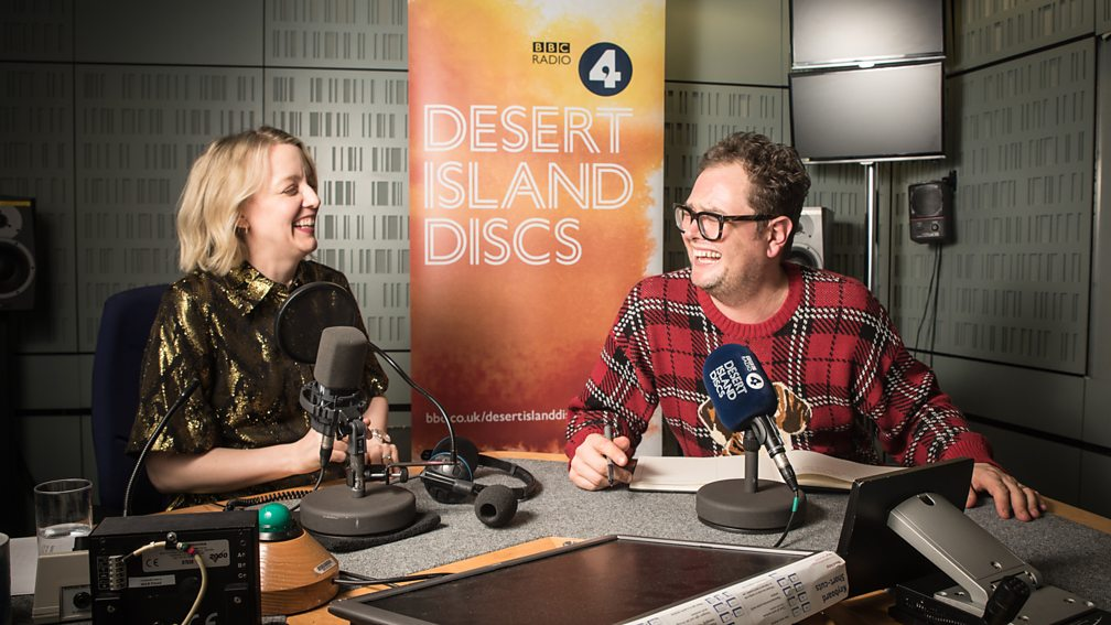 Alan Carr and Lauren Laverne recording Desert Island Discs on BBC Radio 4